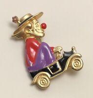 Vintage Signed Danecraft clown brooch enamel on gold tone metal