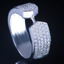 Real Diamonds Engagement Wedding Ring Men's jewelry Band Sterling Silver Setting