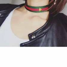 """Red and Green stripe Designer """"INSPIRED"""" choker with gold embroidered bee"""