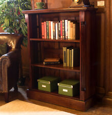 La Roque Dark Wood 3 Shelf Bookcase Low Display Unit Solid Mahogany