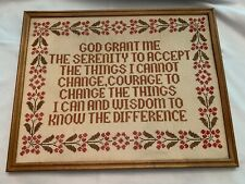 New ListingCompleted Cross Stitch Serenity Prayer Framed Wall Art Free Shipping