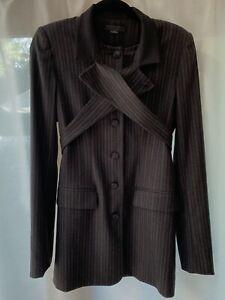 ^^ Alexander Wang Lapel Gray Wool Striped Silk Lined Blazer Jacket 6 EUC ^^