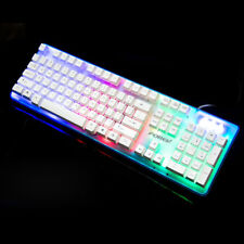 Illuminated 104 Keys Wired Cool 7 Colors Backlight Mechanical Keyboard Fr PC MAC