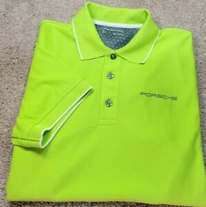 New! PORSCHE-Neon Yllw/Green Perform.Poly, Mens SS/3B, Logo Polo Shirt-(M)