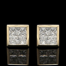 2.5CT Princess Cut Bezel Earrings 14K Yellow Gold Square Invisible Setting Studs