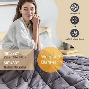 """Weighted Blanket Reduce Stress Promote Deep Sleep 60''X80"""" 42x78'' 12 15 20 25lb"""