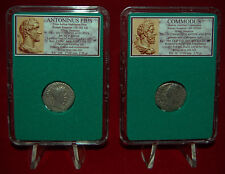 Ancient Roman Empire 2 Coins COMMODUS and ANTONINUS PIUS Silver Denarii