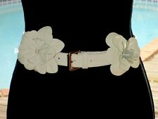 "Anne Fontaine Wht Patent Leather Belt w/Large Flowers L ~ 44"" ITALY Style#P08591"