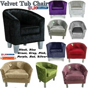 VELVET SOFA 1 SEATER FABRIC TUB CHAIR ARMCHAIR HOME LOUNGE BEDROOM CORNER COUCH