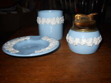#5 Wedgwood Etruriav Barlaston White on Blue Lighter, Ashtray, Cigarette Holder