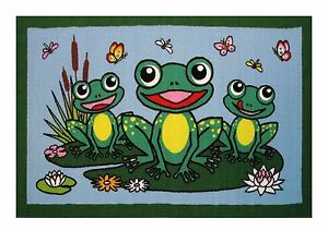 "Fun Rugs FROGS Rug  19"" X 29"" Kids Decorative Fun Time Collection FREE SHIPPING"