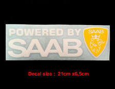Powered by SAAB decal sticker exterior vinyl racing (WHITE + YELLOW)