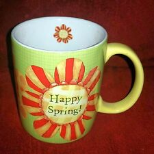 Lang PAINTED FLOWERS Happy Spring! Daisy Coffee Mug Cup Green w/Yellow Red Daisy