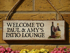 PERSONALISED PATIO SIGN LOUNGE AREA DECKING GARDEN ROOM DRINKS WINES SPIRITS ALE