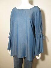 LOFT NEW Blue Lyocell Chambray Long Drawstring Bell Sleeve Maternity Blouse L