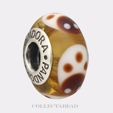Authentic Pandora Silver Murano Gold Ladybugs Bead 790650   RETIRED