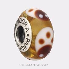 Authentic Pandora Silver Murano Gold Ladybugs Bead 790650   RETIRED