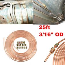 Copper Nickel Brake Line Tubing Kit 3/16 25 Foot Coil Roll Fittings Nuts Kit