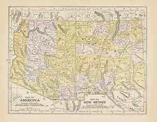 1905 Arizonia New Mexico color state map original authentic