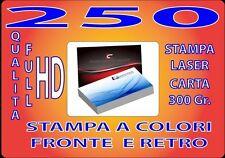 250 BIGLIETTI DA VISITA A COLORI 300GR STAMPA FRONTE E RETRO QUALITA' FULL HD