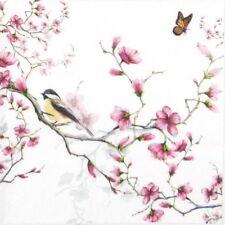20x Lunch Paper Napkins Serviettes Party, Decoupage - Bird & Blossom White