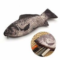 Fish Pencil Case PU Leather Pen Bag Makeup Pouch Coin Purse Office School Supply