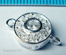 1x STERLING SILVER CZ CRYSTAL ROUND LINK CONNECTOR BEAD 9.6mm N910