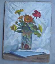Vintage 1930s A Maresca Oil Painting Still Life Flowers in Glass LOOK