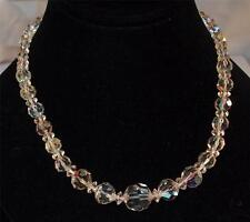 VINTAGE SILVERTONE AURORA BOREALIS FACETED GRADUATED GLASS BEAD NECKLACE 17 1/4""