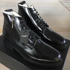 1,000$ Saint Laurent Black Leather Boots Real Fur size US 11, Made in Italy