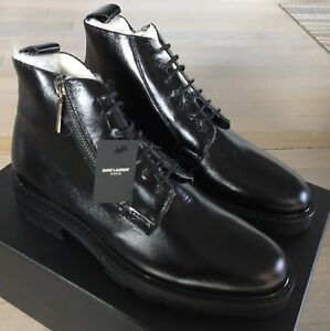 1,000$ Saint Laurent Black Leather Boots Real Fur size US 12, Made in Italy