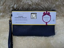 Liz Claiborne Clutch Phone Charging Wallet Navy Blue iPhone Android Compatible