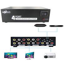 1 In 4 Out 4 Ports RCA AV Audio Video Switch Splitter Box for HDTV + AV Cable