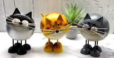 More details for metal cat ornament garden figurine ginger grey black bobbin cat ornaments gift