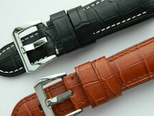 Handmade Genuine Calf Leather Embossed Large Scales Alligator Pattern 24mm