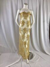 Gold Flower Lace Corded And Embroider With Sequins On A Mesh-Dresses-By The Yard