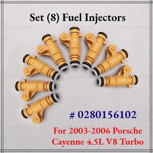 Set (8) Fuel Injectors For 03 04 05 06 Porsche Cayenne 4.5L V8 Turbo 0280156102