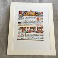 1950 Vintage Ebraico Stampa Pasqua Story Judaica Ebraico Calligrafia