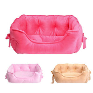 Cute Bow Princess Dog Bed Winter Soft Fleece Puppy Bed Sofa Warm Cat Bed House