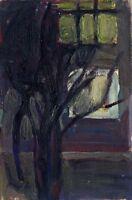 """Russischer Realist Expressionist Öl Leinwand """"Blaue Bäume"""" 30x20 cm"""
