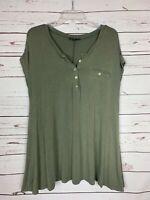 Anthropologie POL Army Green Soft Short Sleeve Tunic Top Shirt Women's M Medium