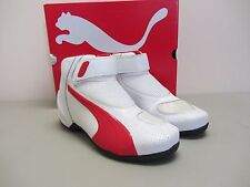 Puma Flat 2 v2 - Size 11.5 US - White w/ Red Motorcycle Shoes - CLOSEOUT