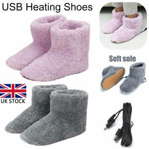 Electric USB Warmer Foot Shoe Plush Slipper Feet Heat Washable Winter Sock Shoes