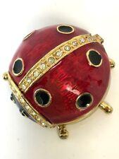 Vintage trinket box Goldtone crystals vibrant enamel ladybug item signed Qifu