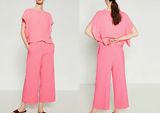 ZARA PINK/BUBBLE GUM LOOSE-FIT CROPPED TROUSERS SIZE XS