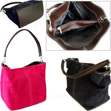 Fuchsia Pink Italian Real Suede Leather Shoulder Handbag Tote Weekend Bag Small