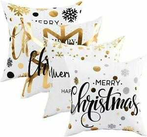 4 Pack Christmas Decorations Cushion Cover Home Decor Throw Pillow Case