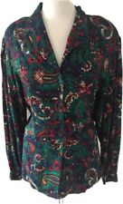 Vtg. Koret Womens Colorful Green red 16 Button Down Blouse Top Paisley