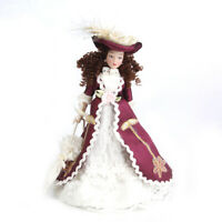 1:12 Scale Dollhouse Miniature Doll Victorian Lady in White Lace Gown & Hat