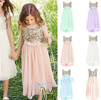 Sequins Tulle Girls Flower Party Formal Wedding Junior Bridesmaid Prom Dresses